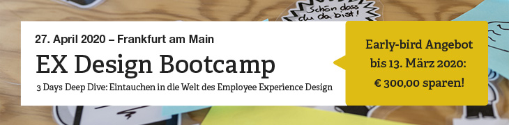 """Hinweis-Bild zum dreitägigen """"EX Design Bootcamp"""", ab dem 14. Oktober 2019 in Frankfurt am Main. Early-bird Angebot bis 31. August 2019: 300 Euro sparen!"""